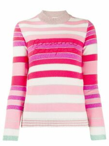 Giada Benincasa love stripes slogan jumper - PINK
