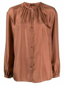 Joseph band-collar gathered satin blouse