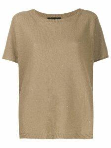 Fabiana Filippi sequin knit T-shirt - NEUTRALS