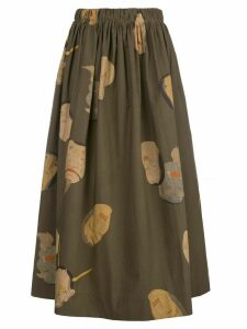 Uma Wang faces print maxi skirt - Green