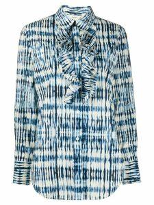 Barena ruffled bib tie-dye print shirt - Blue