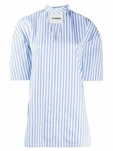 Jil Sander side slits striped blouse - White