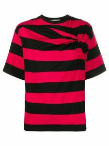 MSGM twisted-detail striped T-shirt - Red