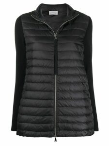 Moncler knitted sleeves zipped jacket - Black