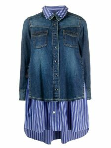 Sacai long sleeve striped layered denim shirt - Blue