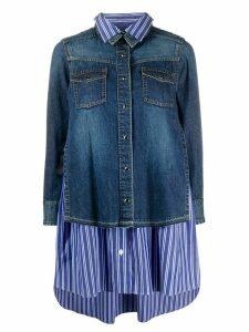 Sacai long sleeve striped layered denim shirt - Blue