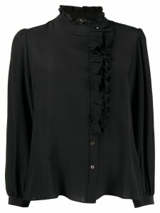 PS Paul Smith ruffle-trimmed crepe de chine shirt - Black