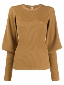 Totême tapered-sleeve knit jumper - Brown