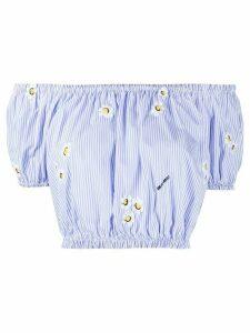 Miu Miu off-the-shoulder daisie striped top - Blue