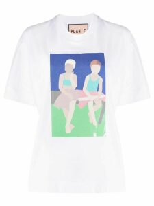 Plan C graphic print boxy T-shirt - White