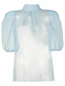 Brognano ruffled neck sheer blouse - Blue