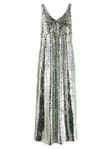 Mulberry V-neck sequin embellished slip dress - SILVER