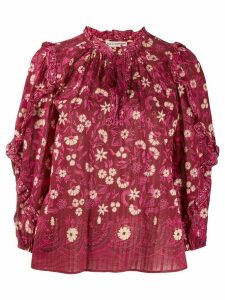 Ulla Johnson tasselled floral-print blouse - Red