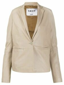 S.W.O.R.D 6.6.44 tailored leather blazer - NEUTRALS