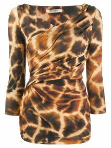Roberto Cavalli giraffe-print top - Brown