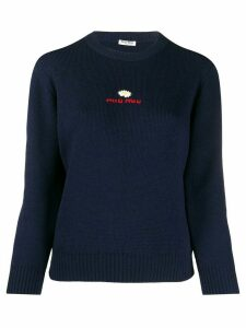 Miu Miu logo embroidery jumper - Blue