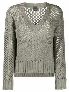 Lorena Antoniazzi open knit v-neck jumper - Grey