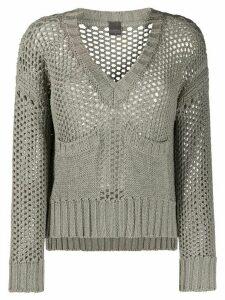 Lorena Antoniazzi open knit v-neck jumper - Grey