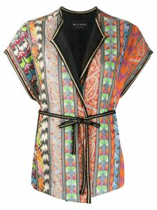 Etro embroidered waist-tied cardigan - Green