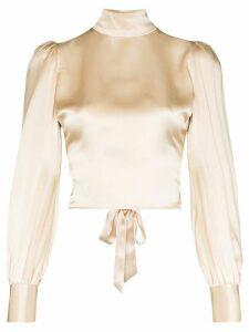 Reformation Cielo gathered silk-satin blouse - NEUTRALS
