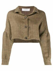 Société Anonyme cropped herringbone jacket - NEUTRALS