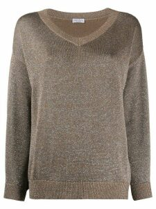 Brunello Cucinelli loose fit V-neck sweater - Brown