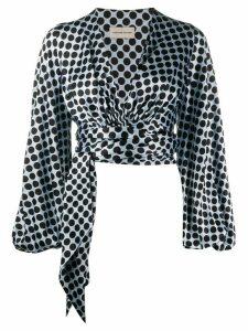 Alexandre Vauthier wrap waist blouse - Blue