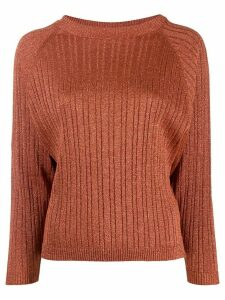 Alysi glitter detail ribbed knit jumper - ORANGE