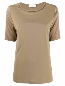 Fabiana Filippi ball-chain trim T-shirt - NEUTRALS