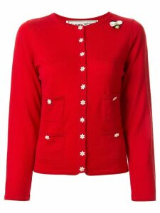 Tu es mon TRÉSOR slim-fit flower-buttons cardigan - Red