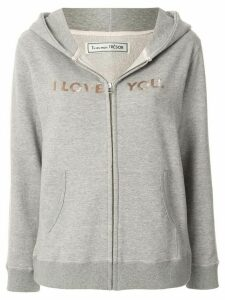 Tu es mon TRÉSOR I Love You slogan zipped hoodie - Grey