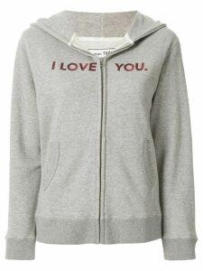 Tu es mon TRÉSOR slogan zipped hoodie - Grey