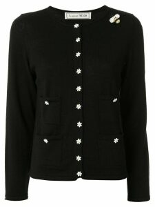Tu es mon TRÉSOR slim-fit flower-buttons cardigan - Black