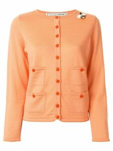 Tu es mon TRÉSOR slim-fit flower-buttons cardigan - ORANGE