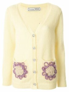 Tu es mon TRÉSOR flower pocket mohair cardigan - Yellow