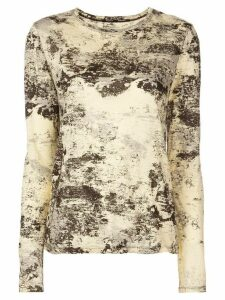 Proenza Schouler Foil Printed Long Sleeve T-Shirt - Yellow