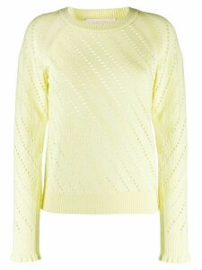 See by Chloé perforated crew-neck jumper - Yellow