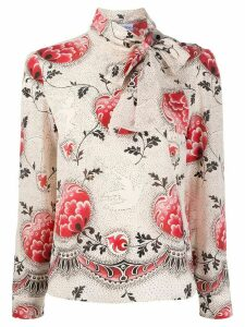 RedValentino floral tie-neck blouse - NEUTRALS