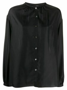 Joseph band-collar gathered satin blouse - Black