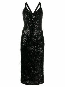 Dolce & Gabbana sequinned V-neck midi gown - Black