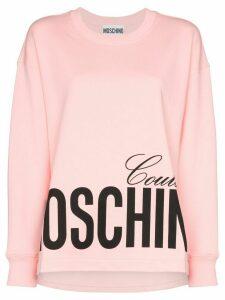 Moschino logo-print cotton sweatshirt - PINK