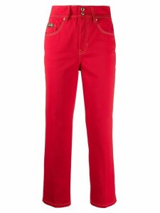 Versace Jeans Couture contrast-stitching cropped jeans - Red