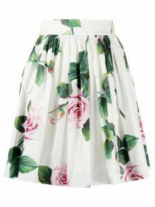 Dolce & Gabbana Roses print skater skirt - White