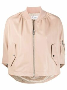 RedValentino cropped ruffle bomber jacket - NEUTRALS