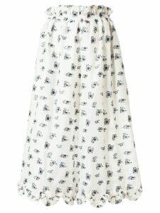 Cecilie Bahnsen embroidered-pattern high-waist skirt - White