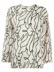 Alysi abstract-print silk blouse - NEUTRALS