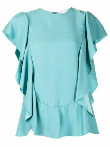 RedValentino ruffled short-sleeve blouse - Blue