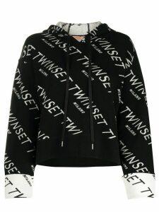 Twin-Set logo pullover hoodie - Black