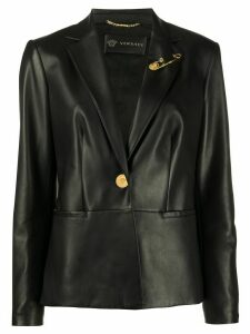 Versace safety-pin leather jacket - Black