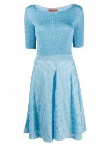 Missoni short sleeve contrast knit dress - Blue